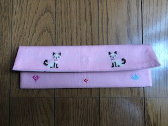 クロスステッチ刺繍*二匹の猫★カトラリーケースの画像