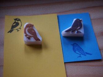 消しゴムはんこ 月山青い鳥黄色い鳥の画像