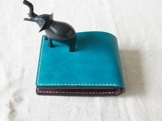 二つ折り財布《TurquoiseBlue&DarkBrown》の画像