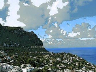 カプリ島の海と青空 PR-A4-035 イタリア カプリ島 写真画 街 港 漁業 漁 青空の画像