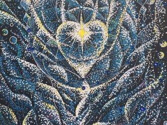 売約済 【原画一点もの】悲しみ、ネガティブエネルギーを燃やし浄化しヒーリングする  大天使ミカエル画の画像