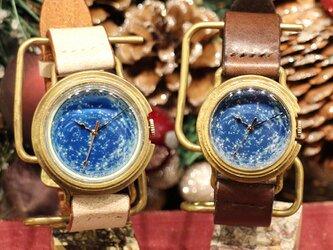 【ペアウォッチ】GENSO 天体観測 星空の腕時計 蓄光文字盤 夜空 星 宇宙の画像