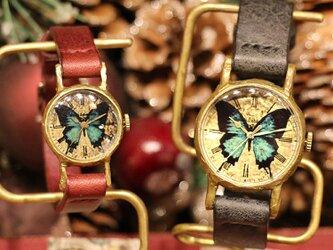 【ペアウォッチ】見ると幸せになる蝶 オオルリアゲハの腕時計 MとSS 2本セッの画像