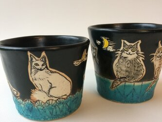 月夜の猫集会フリーカップ・ペアセットの画像