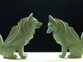 陶塑 2018年「干支(戌)」作品 シベリアンハスキー 阿吽(あうん)狛犬 限定2点セットの画像
