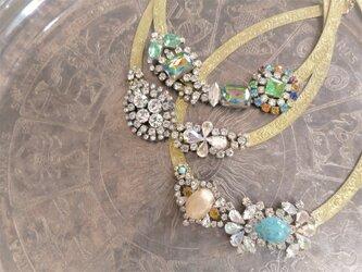 ヴィンテージネックレス ターコイズ&ベージュビジュー vintage necklace <NC-MS2>の画像