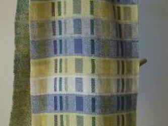 手織り二重織りカシミヤマフラー/カラフルの画像