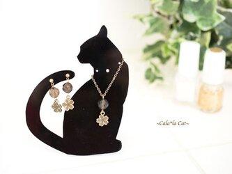 黒猫1のアクセサリー掛け 天然石スモーキークォーツのジュエリーセット(ピアス/イヤリング/ネックレス)パワーストーンの画像