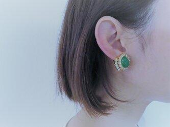 ジェイドグリーンイヤリング vintage earrings gadegreen <ER-gdGR>の画像