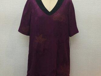 裾フリルワンピース【正絹】【刺繍入り】【着物リメイク】の画像