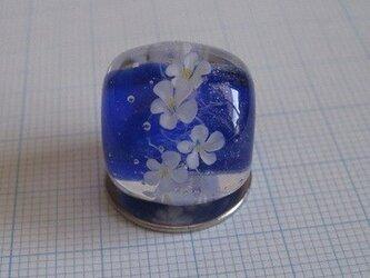 とんぼ玉 花*花(濃青)の画像