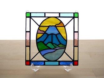 ステンドグラス ミニパネル 富士山 15cmの画像