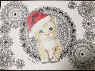 原画 肉筆 一点もの ボールペンアート  サンタクロース クリスマス Xmas 猫 小猫 仔猫 ボールペン画 絵画の画像