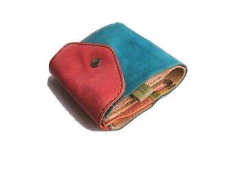 half wallet ブルー×ピンクの画像