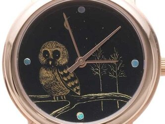 沈金腕時計(森の梟)の画像
