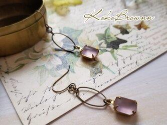 ヴィンテージフロストガラスのピアス ピンクの画像