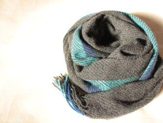 カシミヤマフラー 冬夜空 黒に青系2色 手織りの画像