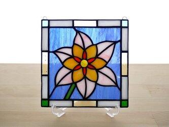 ステンドグラス ミニパネル フラワー 15cmの画像