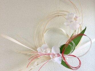 胡蝶蘭のホワイトしめ飾り【プリザ+造花+ドライ】お正月の画像