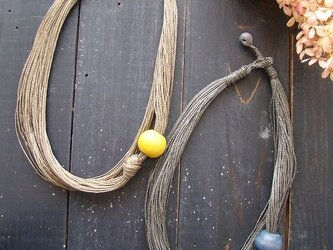 ボリュームネックレス・青・黄の画像