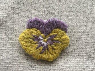 パンジー 黄&紫*ブローチの画像