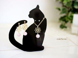 黒猫1のアクセサリー掛け 天然石マダカスカルローズクォーツのジュエリーセット(ピアス/イヤリング/ネックレス)の画像
