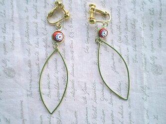 赤いミルフィオリのイヤリング(ピアスの画像