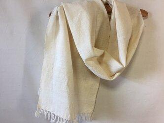 手紡ぎ木綿と絹のストールの画像