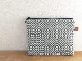 pouch[手織り小さめポーチ]ブルーグレーの画像