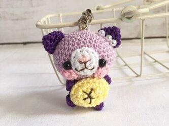 【受注生産】バナナ・紫系のネコさん*鈴付きイヤホンジャックストラップの画像