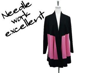 羽織風バイカラーロングジャケット ピンク×ブラックの画像