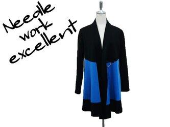 羽織風バイカラーロングジャケット ブルー×ブラックの画像