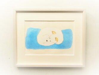 原画「眠る犬」水彩イラスト ※木製額縁入りの画像
