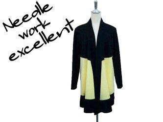 羽織風バイカラーロングジャケット イエロー×ブラックの画像