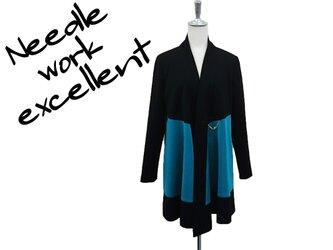 羽織風バイカラーロングジャケット グリーン×ブラックの画像