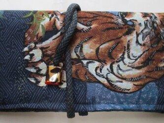 送料無料 藍大島紬とモスの長襦袢で作った和風財布・ポーチ 3162の画像