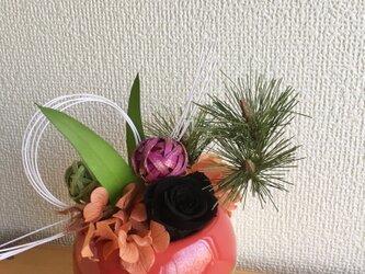 お正月アレンジ★KOMARIレッド【プリザ+造花】の画像