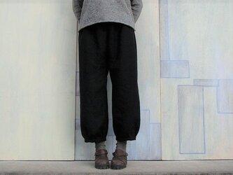 秋冬リネン*もんぺパンツ*黒の画像