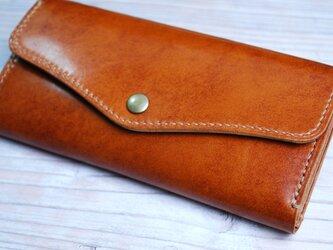 [送料無料] 手縫いの軽くて丈夫な高級アンティークレザー長財布がばっとコイン入れCAの画像
