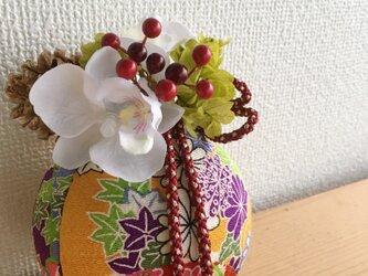 お正月アレンジ★TEMARI【プリザ+造花】壁掛け専用の画像