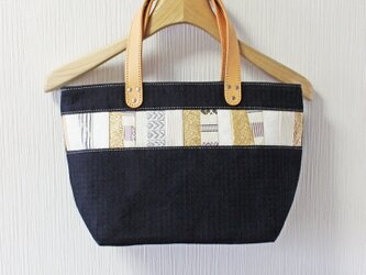 博多織×デニムトートバッグ「連」S インディゴ 千鳥格子 レザー(LT-CHII-1)の画像