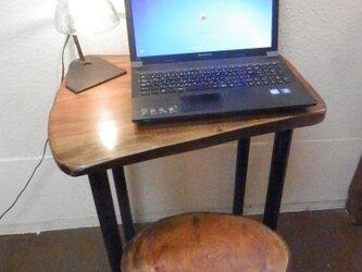 パソコン用けやきアイアンテーブルイスセット12-10の画像