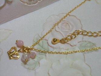 ピンク石のクラウン*ネックレスの画像