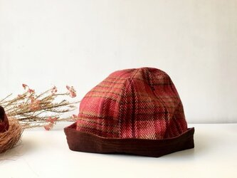 HELMA HAT | H.CHECK×SUEDE RED 折り返しつば狭ハット*国産ヘリンボンチェック×スエードの画像