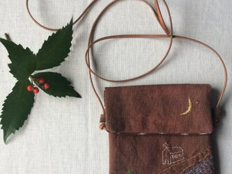 柿渋染め 小さなポシェット「静かな夜に」の画像