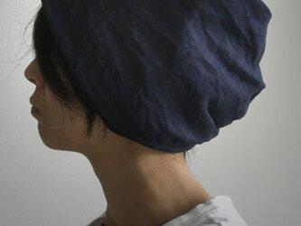 ターバンな帽子 ネイビーリバーシブル 送料無料の画像