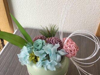 お正月アレンジ★KOMARIパステル【プリザ+造花】の画像