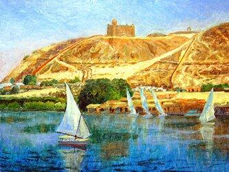 ナイル川とファルーカ船の画像