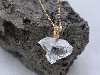 Herkimer Diamond Necklace ハーキマーダイヤモンドの原石ネックレス 14KGFの画像
