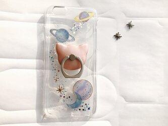 iPhoneX iPhone8/7/6/6s 宇宙柄 スマホケース 猫 月 星 選べる スマホリング iPhoneケースの画像